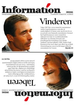 Picture of Information's front page showing Anders Fogh Rasmussen as both the winner and the loser of the election